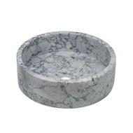 White marble washing basin round