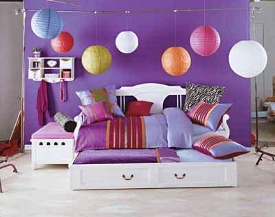 Teenage bedroom with colour and storage