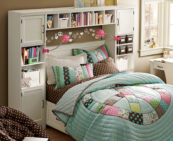 teenage bedroom with cabinetry