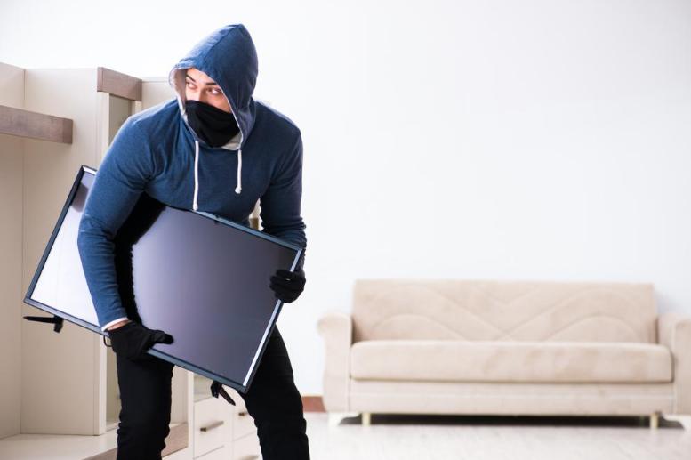 hooded burglar with tv