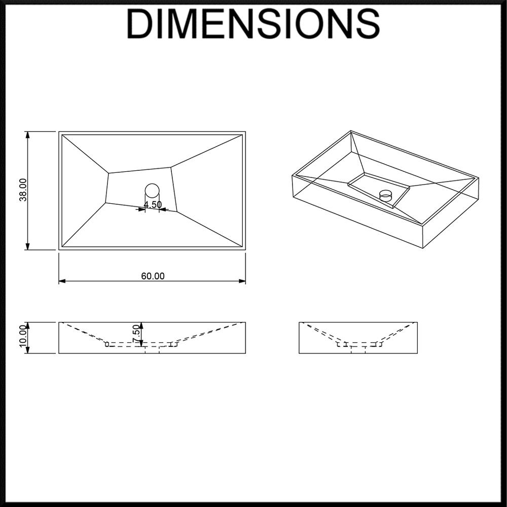 Moku Limestone Geometric Bathroom Basin Dimensions