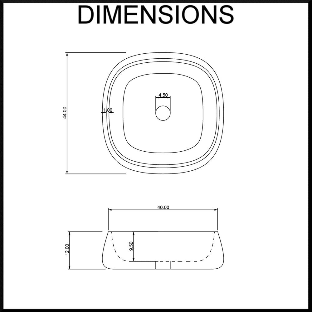 Moku Limestone Square Bathroom Basin Dimensions