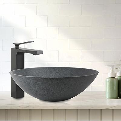 grey granite bathroom basin, bathroom sink, stone basin