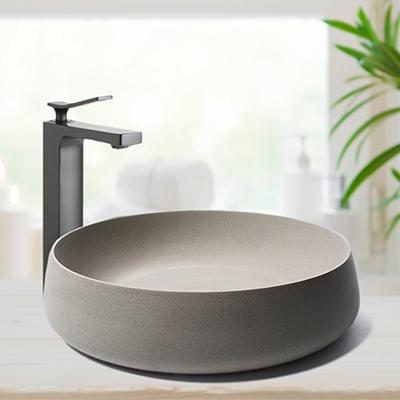 geometric basin, matte stone basin, square bathroom basin, limestone bathroom mirror